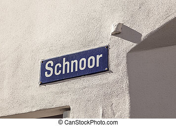 street name of the quarter Schnoor, an old town street in...