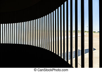 detail of skybridge at Bremen airport with shadow