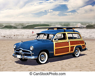 woodie on the beach - vintage woodie car with surfboard on...