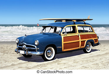 woodie on the beach - woodie car on the beach with surfboard...