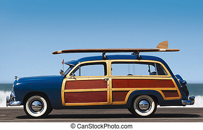 woody-profile - side view of woody car with surfboard and...