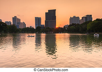 Lumpini Park, Bangkok, Thailand - Sunset view of the lake...