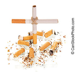 The composition in the form of cross, and smoked cigarette...