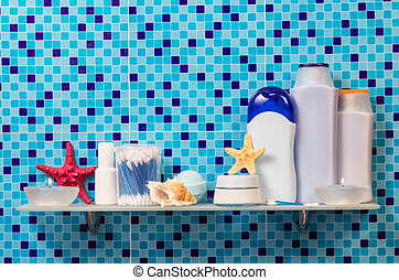 Hygiene products on shelf in the bathroom - Hygiene products...