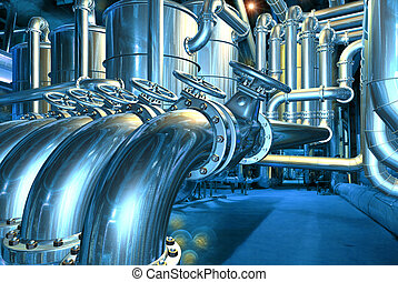 Big pipeline in the abstract refinery. Computer graphic...
