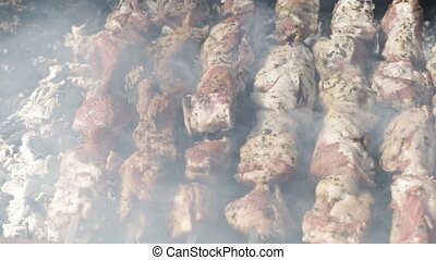 Shish kebab prepares on coals. Holidays video.