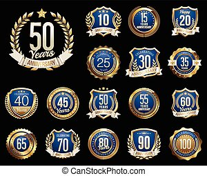 Anniversary Badges - Set of Golden Anniversary Badges. Set...