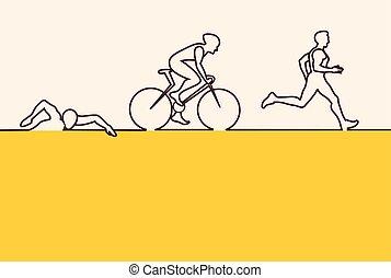 Vector illustration triathlon, flat design. vector...