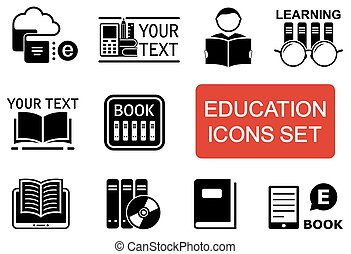 education icon set with red accent