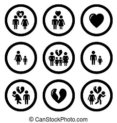 family situation symbols - set of round isolated family...