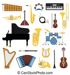 Music instruments vector illustration - Different music...