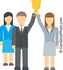Successful team business leaders vector illustration.