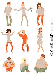 Mad crazy people vector illustration. - Crazy people poses...