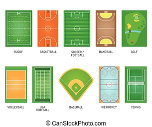 Playing fields vector set - Green grass on golf field Green...