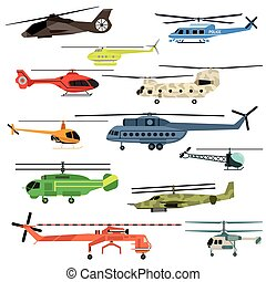 Helicopters vector set.