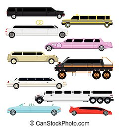 Limousine vector set - Detailed vector luxury limousine car...