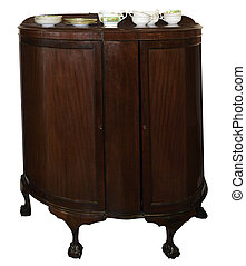 Antique Cabinet with Crockery - Antique Cabinet with...