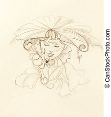 mystic woman with flower. pencil drawing on paper.