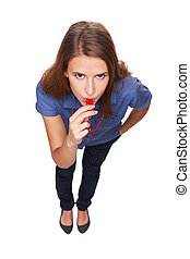 Female blowing a whistle and pointing at you - Serious...