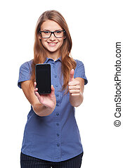 Woman showing blank black smart phone screen and giving an...