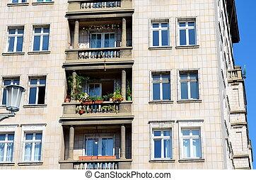 balconies of old stalin buildings in berlin