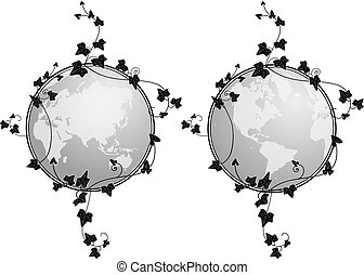 globe and ivy - set of vector illustrations of the globe and...