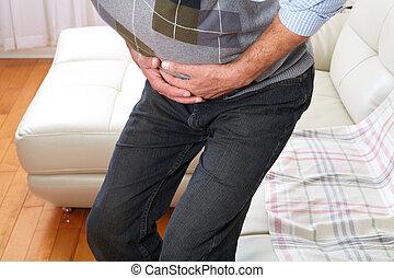 homem, sofrimento, De, belly-ache,