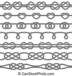 Set of rope knots. Decorative seamless elements