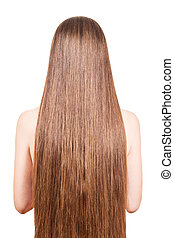 The girl with well-groomed, smooth, long, brown hair...