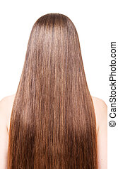 Woman with well-groomed, brown, long hair isolated on white...