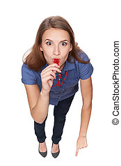 Female blowing a whistle and pointing at you - Funny image...