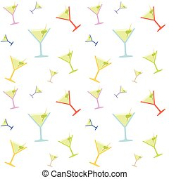 Seamless Martin Glass Colorful Pattern - Seamless Martini...