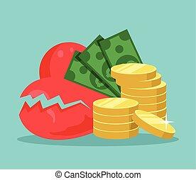 Broken heart and money Vector cartoon flat illustration