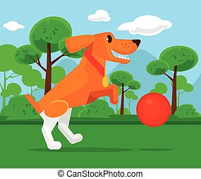 Dog playing with ball Vector flat cartoon illustration