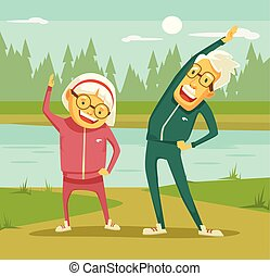 Elderly people doing exercises. Vector flat cartoon...