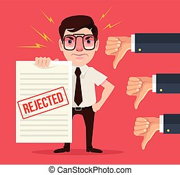 Rejected document and dislike hands. Vector flat cartoon...