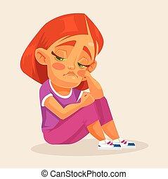 Sad girl. Vector flat cartoon illustration