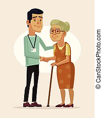 Social worker and grandmother Vector flat cartoon...