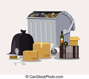 Street trashcan Vector flat cartoon illustration