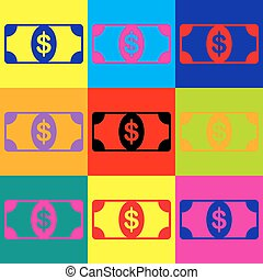 Bank Note dollar sign. Pop-art style colorful icons set.
