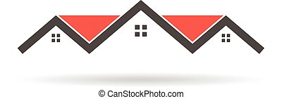Red roof houses building logo. Vector graphic illustration
