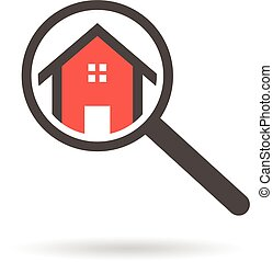 Real estate search logo of a house with magnifying glass