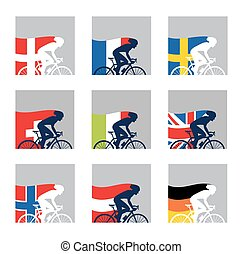 international competition. European cyclist with their country flags