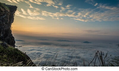 Sea of fog. - Sea of fog at Phu chi fa, Chiang rai,...