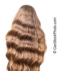 Luxury brown curly hair flowing on the back isolated white...