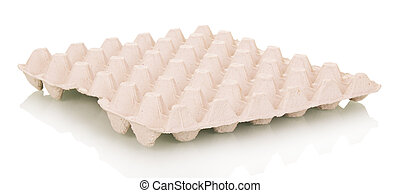 Empty cardboard tray eggs isolated on white background. -...