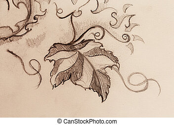 grapevine leaves. Drawing on paper, ornamental structure. -...