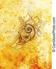 ornamental, Drawing., Original, mão, desenhar, e,...
