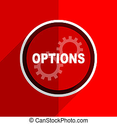 red flat design options modern web icon - red flat design...