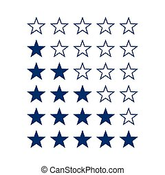 Stars Rating - Simple Stars Rating Dark Blue Shapes on White...